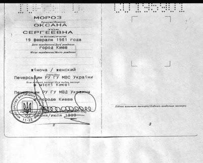 Паспорт Мороз Оксаны Сергеевны